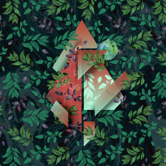 Green bay leaf geometry mystically trendy illustration with realistic marble texture and watercolor bright floral arts. Bronze textures with foil elements, rural basil leaves.