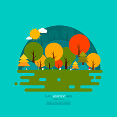 Nature Scene. Forest. Flat Design Vector