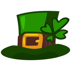 St. Patrick's Day leprechaun hat with four leaf clover. Vector cartoon illustration isolated on white background. Symbols of the Irish holiday.