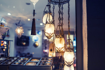 Decorative lamps in light store
