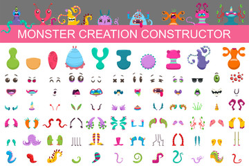 Monster creation constructor kit. Vector cartoon set of eyes, mouths, arms, noses, tails, horns and bodies to collect the characters of cute aliens and funny creatures.