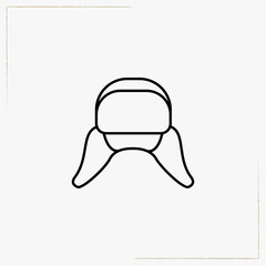 hat with ear flaps line icon