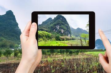 tourist photographs gardens near karst mountains