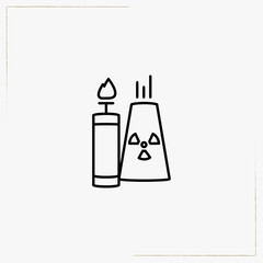 flammable and toxic line icon