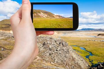 tourist photographs Landmannalaugar area