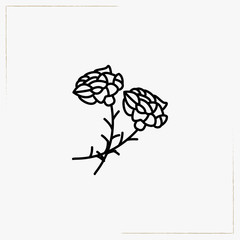 funeral flowers line icon
