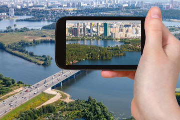tourist photographs living district in Moscow