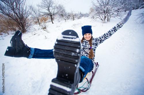 Christmas Vacation Sled.Crazy Woman Enjoy A Sleigh Ride Woman Sledding Funny Woman