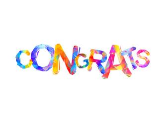 Congrats. Vector inscription of triangular letters