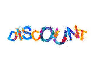 Discount. Word of splash paint letters