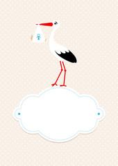 Baby Card Boy Stork Black/White Cloud Beige