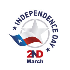 Independence Day TEXAS March 2 flag ribbon logo icon white background