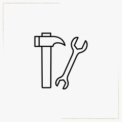 hammer with wrench line icon