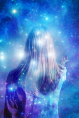 mysterious mystical woman over magic background with stars like esoteric concept