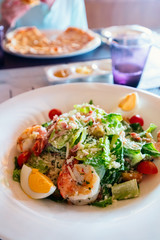 Caesar salad with grilled shrimps