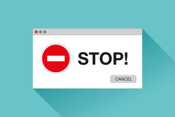 Stop page. Error window in flat style, stop sign, vector design object for you projects