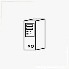 computer processor box line icon