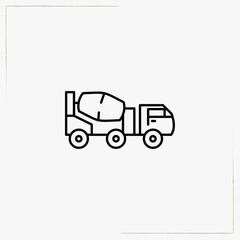 concrete mixer line icon