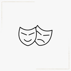cinema mask line icon