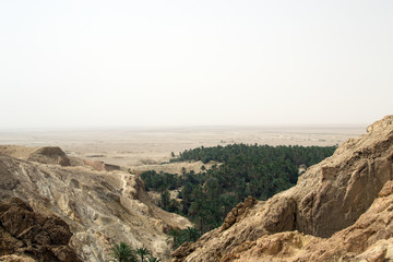 View from the mountains in Sahara Desert, Tunisia