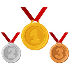 Gold, silver or bronze medal on red ribbon. Awards for winners in sports and other сhampionships for first, second and third places. Vector flat cartoon illustration isolated on a white background.