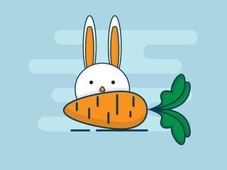 illustration of rabbit with carrot flat design