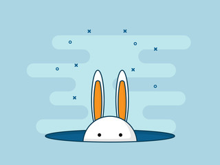illustration of rabbit or bunny in hole flat design