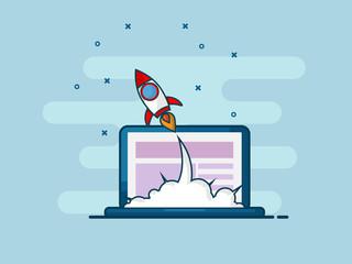 illustration of rocket startup launch from laptop flat line design
