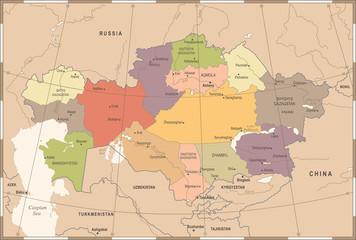 Kazakhstan Map - Vintage Detailed Vector Illustration