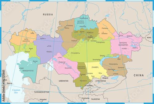 Kazakhstan Map - Detailed Vector Illustration