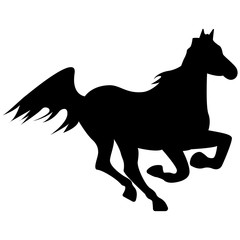 Vector image of a silhouette of a horse that jumps