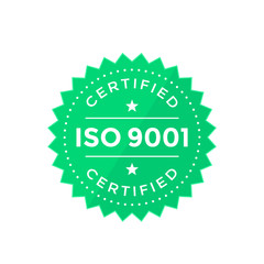 ISO 9001 badge, green on white