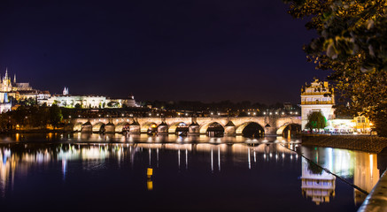 A beautiful view on karlov bridge in the evening prague