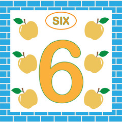 Card with number 6 (six). Education for children. Learning numbers, mathematics