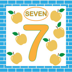 Flashcard with number 7 (seven). Education for children. Learning numbers, mathematics