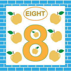 Number 8 (eight), card. Education for preschool children.