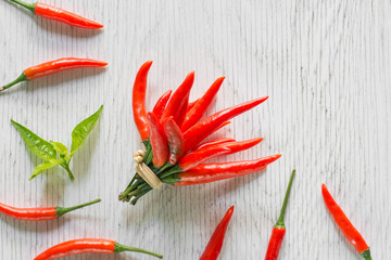 Red chili vegetable on rustic wood background.chili pepper on rustic wood background.