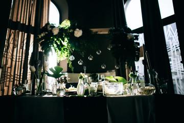 Beautiful black Wedding decoration with fresh flowers