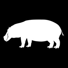 Silhouette of a standing hippopotamus. Side view.