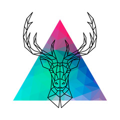 Head of a deer with horns in geometric style against a multicolored triangle. Vector illustration.