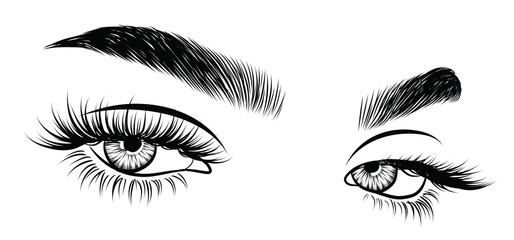 Illustration of woman's sexy luxurious eye with perfectly shaped eyebrows and full lashes. Hand-drawn Idea for business visit card, typography vector. Perfect salon look. Fototapete