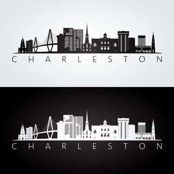 Charleston usa skyline and landmarks silhouette, black and white design, vector illustration.