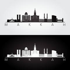 Makkah skyline and landmarks silhouette, black and white design, vector illustration.