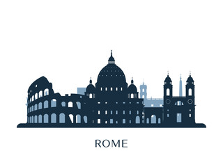 Rome skyline, monochrome silhouette. Vector illustration.