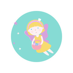 Girl in costume of a tooth fairy.Vector illustration. Fairy-tale subjects and characters. Objects on a colored circle. Design for pictures, icons, postcards, covers, flat and cartoon style.