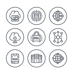 hosting service and network solutions line icons set on white