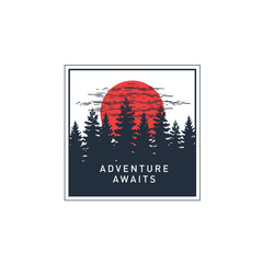 """Hand drawn travel badge with pine trees at the sunset textured vector illustration and """"Adventure awaits"""" inspirational lettering."""