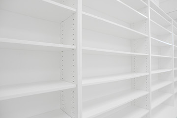 empty white shelves