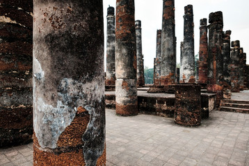 Ancient buddhism temple at ruins o in ancient city in Thailand