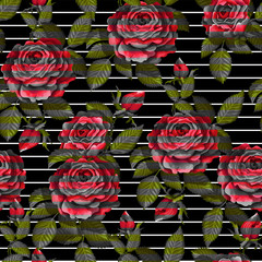 Red rose seamless pattern  for your design. Vector illustration.